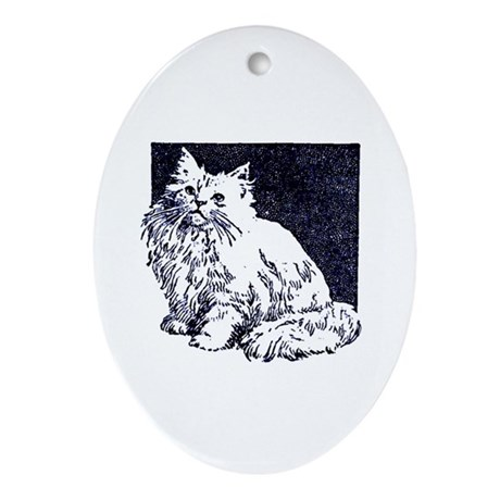 Vintage Blue Cat Drawing Oval Ornament
