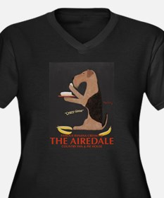 The Airedale Women's Plus Size V-Neck Dark T-Shirt
