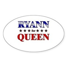 RYANN for queen Oval Decal