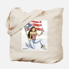 Puerto Rican Girl w/ Flag Tote Bag