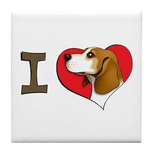 I heart beagles Tile Coaster