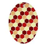 Retro Scales Geometric Print Oval Ornament