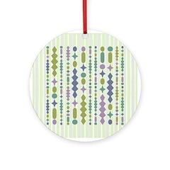 Green & Purple Modern Christmas Ornament (Round)