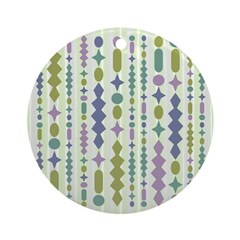 Green & Purple Modern Christmas Ornament (Round)