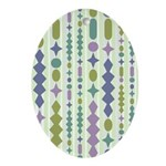 Green & Purple Modern Christmas Oval Ornament
