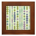 Green & Purple Modern Christmas Framed Tile