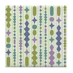 Green & Purple Modern Christmas Tile Drink Coa