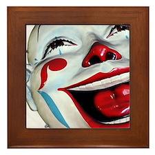Laughing Clown Face Art Framed Tile