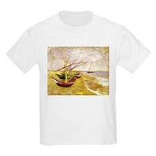 Van Gogh Fishing Boats on Beach T-Shirt