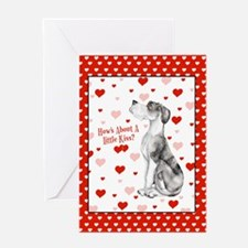 Great Dane MerleB UC Kiss Greeting Card