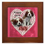 Cavalier Puppy Love Framed Tile