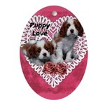 Cavalier Puppy Love Oval Ornament