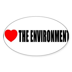 I Love The Environment Oval Decal