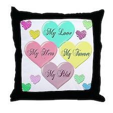 4 Hearts Pilot Throw Pillow