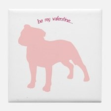 Staffie... Be My Valentine Tile Coaster