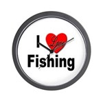 I Love Fishing for Fishing Fans Wall Clock