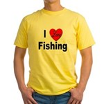 I Love Fishing for Fishing Fans Yellow T-Shirt