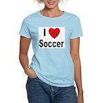 I Love Soccer Women's Pink T-Shirt
