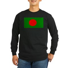 Bangladesh Blank Flag Long Sleeve Dark T-Shirt
