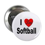I Love Softball Button