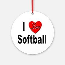 I Love Softball Keepsake (Round)