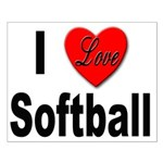 I Love Softball Small Poster