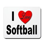 I Love Softball Mousepad