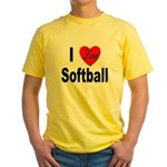 I Love Softball Yellow T-Shirt
