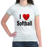 I Love Softball (Front) Jr. Ringer T-Shirt