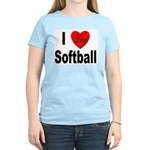 I Love Softball (Front) Women's Pink T-Shirt