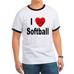 I Love Softball (Front) Ringer T