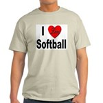 I Love Softball (Front) Ash Grey T-Shirt