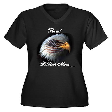 Proud Soldiers Mom (eagle/fla Women's Plus Size V-