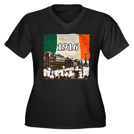 1916 Women's Plus Size V-Neck Dark T-Shirt