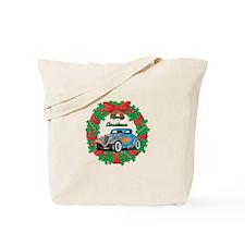 Merry Christmas Wreath Blue Hot Rod Tote Bag