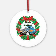 Merry Christmas Wreath Blue Hot Rod Ornament (Roun