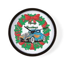 Merry Christmas Wreath Blue Hot Rod Wall Clock