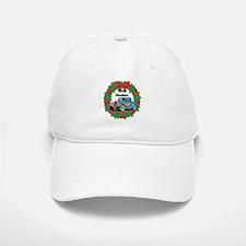 Merry Christmas Wreath Blue Hot Rod Baseball Baseball Cap