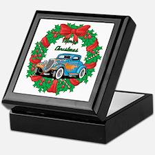 Merry Christmas Wreath Blue Hot Rod Keepsake Box