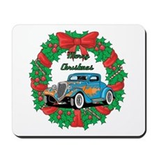 Merry Christmas Wreath Blue Hot Rod Mousepad