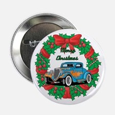 "Merry Christmas Wreath Blue Hot Rod 2.25"" Button ("