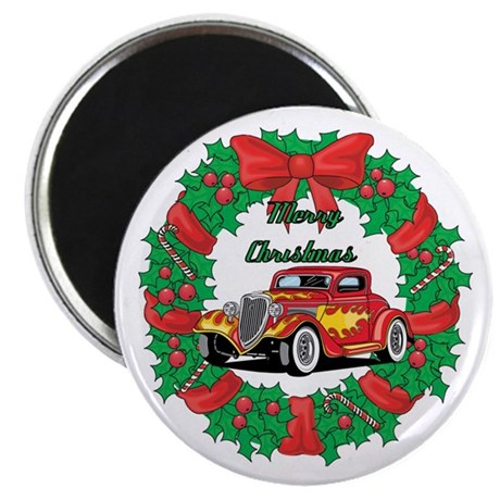 "Merry Christmas Wreath Red Hot Rod 2.25"" Magnet (1"