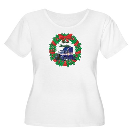 Merry Christmas Wreath Big Rig Women's Plus Size S