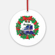 Merry Christmas Wreath Big Rig Ornament (Round)