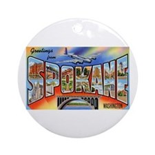Spokane Washington Greetings Ornament (Round)