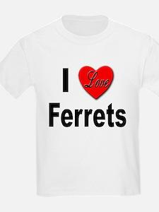 I Love Ferrets (Front) Kids T-Shirt