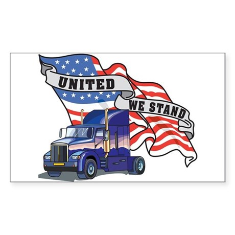 United We Stand Big Rig Rectangle Sticker