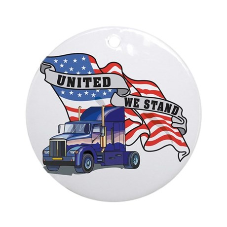 United We Stand Big Rig Ornament (Round)