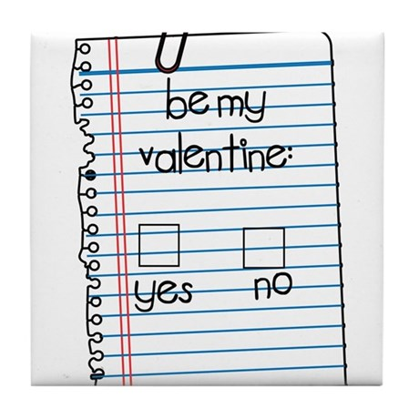 Be My Valentine: Check Yes or No Tile Coaster