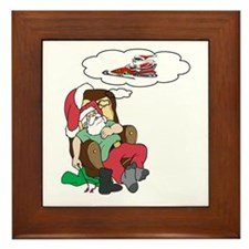 Santa Dreams of Snowmobiling Framed Tile